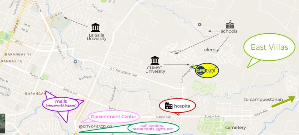 Key places near East Villas Fortune Towne