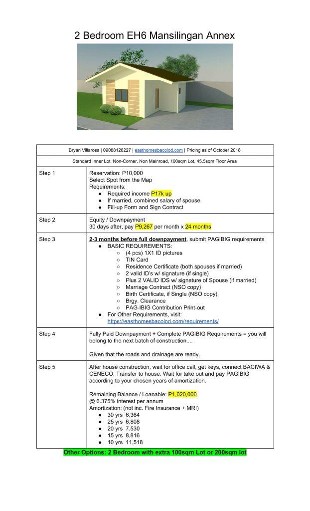 2 Bedroom 5 Step Pricing Mansilingan Oct 2018