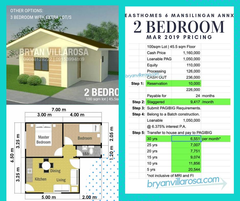2 bedroom mar 2019 pricing East Homes Mansilingan